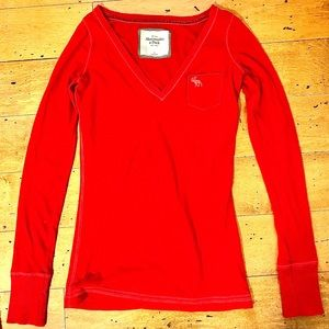 Red Abercrombie & Fitch Long-Sleeve Tee